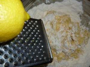 cookies - add sugar and lemon zest