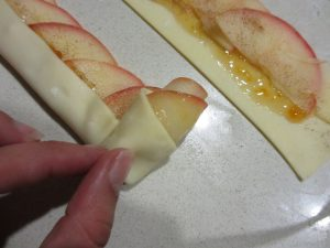 apple rose - roll dough